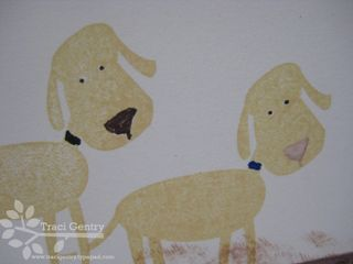 Two yellow dogs close up wm