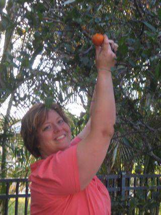 Traci picking tangerine