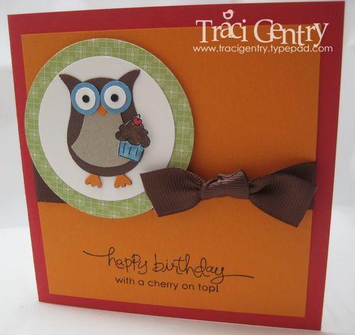 Owl birthday card wm